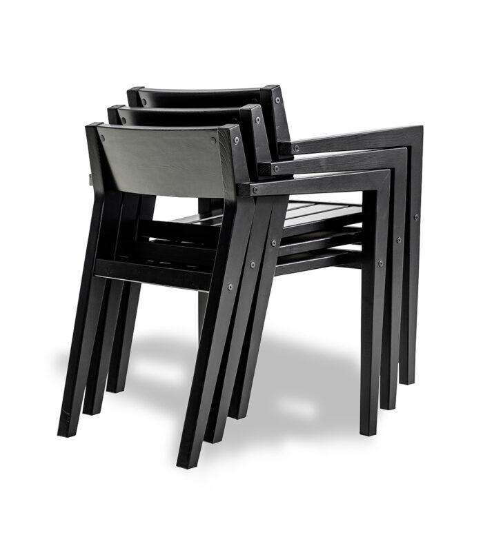 LAITURI-tuoli, musta, pinottava