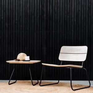 ELOKUU-lounge-tuoli ja pöytä, naturel Accoya